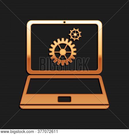 Gold Laptop And Gears Icon Isolated On Black Background. Adjusting App, Service, Setting Options, Ma
