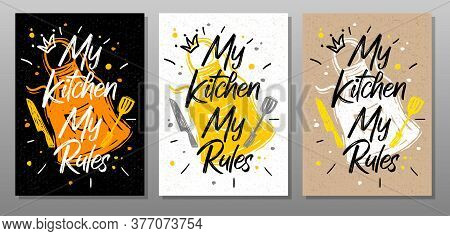 My Kitchen, My Rules, Quote Food Poster. Cooking, Culinary, Kitchen, Print, Utensils, Apron, Fork, K