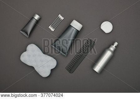 Close Up Flat Lay Of Men Grooming, Hygiene Or Beauty Care Products Over Grey Background, Elevated To