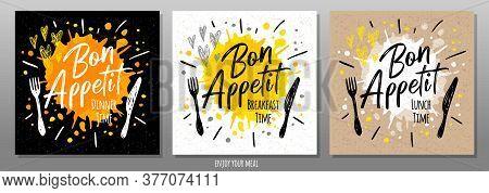 Bon Appetit, Enjoy Your Meal, Quote, Phrase, Food Poster, Splash, Fork, Knife. Lettering, Sketch Doo
