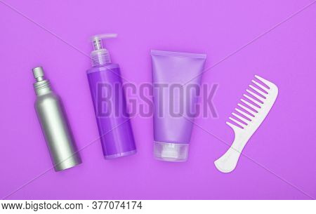 Feminine Beauty Care Flat Lay Of Hair Treatment Set On Lavender Purple Background, Elevated Top View