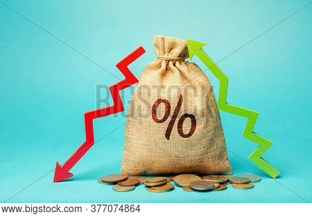 Money Bag With Percent And Up Or Down Arrow. Mortgage And Loan Rates. Interest Rate, Stocks, Ranking