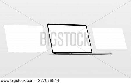 Laptop With Blank Screen And Blank Framework Web Pages. Mockup For Responsive Web-design Or Showing