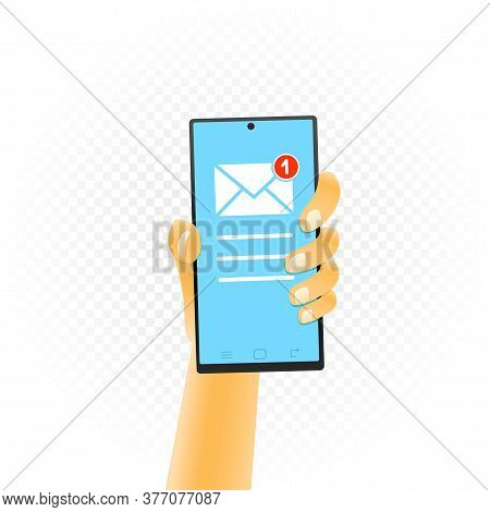 Smartphone In Hand Email Sign One Missed