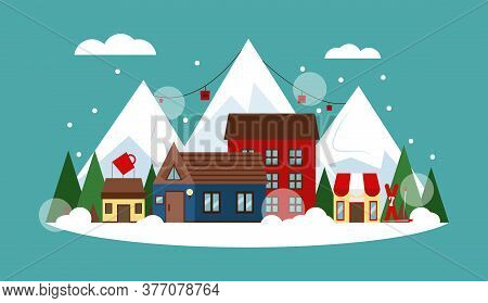 Vector Illustration With Ski Resort. Winter Landscape With Cute Houses, Coffee House, Shop, Skiing,