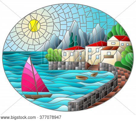 The Illustration In Stained Glass Style Painting With A Sailboat On The Background Of The Bay With C