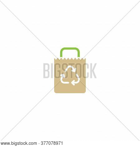 Brown Empty Grocery Paper Bag With Reuse Sign. Flat Icon Isolated On White.