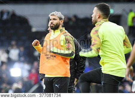 London, England - February 2, 2020: Sergio Aguero Of City Pictured Prior To The 2019/20 Premier Leag