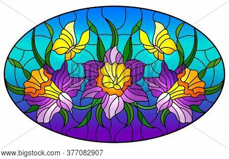 Illustration In Stained Glass Style With A Bouquet Of Purple Flowers And Yellow Butterflies On A Blu