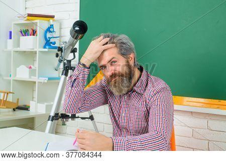 Teacher. Man Teacher. Teachers Day. Back To School. Serious Teacher In Classroom. Learning, Educatio