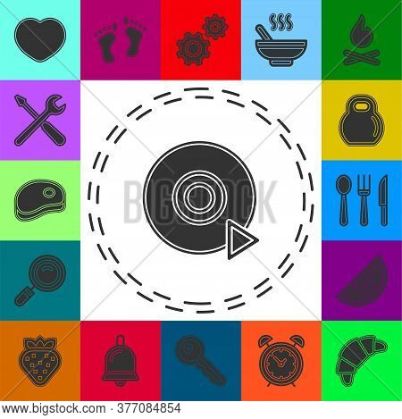Play Dvd Button - Media Or Music Player - Multimedia Vector Icon. Flat Pictogram - Simple Icon