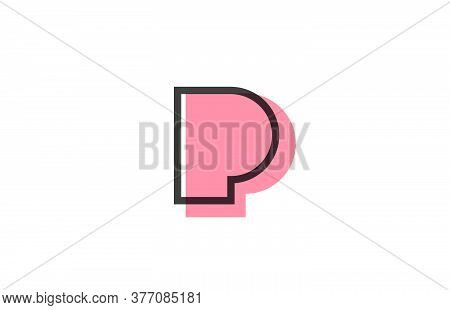 Geometric P Pink Black Line Alphabet Letter Logo Icon For Company. Simple Line Design For Business A