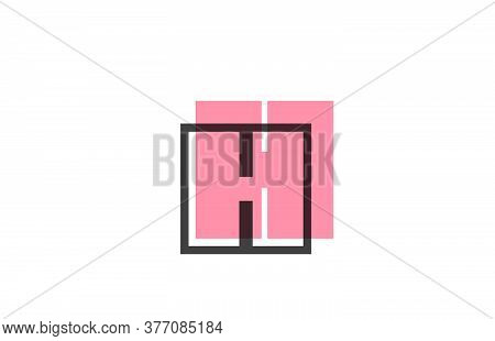 Geometric H Pink Black Line Alphabet Letter Logo Icon For Company. Simple Line Design For Business A