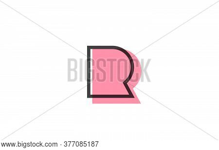 Geometric R Pink Black Line Alphabet Letter Logo Icon For Company. Simple Line Design For Business A