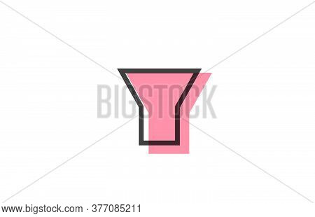 Geometric Y Pink Black Line Alphabet Letter Logo Icon For Company. Simple Line Design For Business A