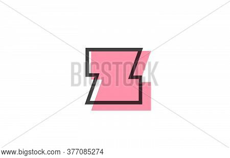 Geometric Z Pink Black Line Alphabet Letter Logo Icon For Company. Simple Line Design For Business A
