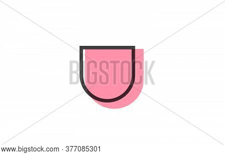 Geometric U Pink Black Line Alphabet Letter Logo Icon For Company. Simple Line Design For Business A