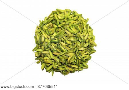 Green Peeled Pistachios Nuts Isolated On White Background. Healthy Snack And Food. Top View. Nuts. P