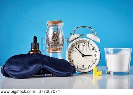 Herbal Medicine For Treat Depression And Insomnia Concept. Alarm Clock, Medicine Herbs And Aromather