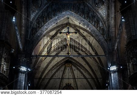Milan, Italy - May 16, 2017: Statue Of Crucified Jesus Christ Inside Milan Cathedral. Holy Cross In