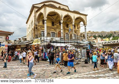 Athens - May 7, 2018: Tzistarakis Mosque And Old Market On Monastiraki Square In Athens, Greece. Peo