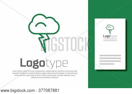Green Line Storm Icon Isolated On White Background. Cloud And Lightning Sign. Weather Icon Of Storm.