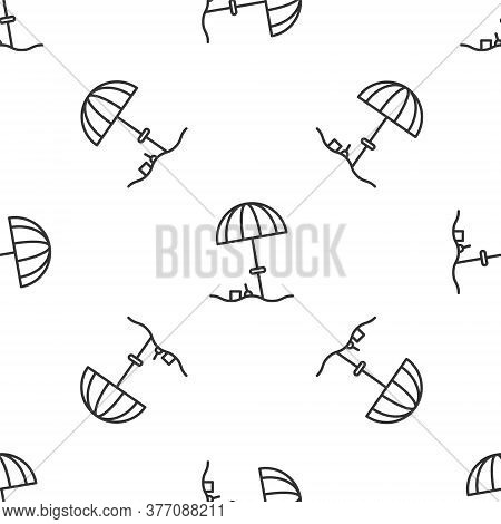 Grey Line Sun Protective Umbrella For Beach Icon Isolated Seamless Pattern On White Background. Larg
