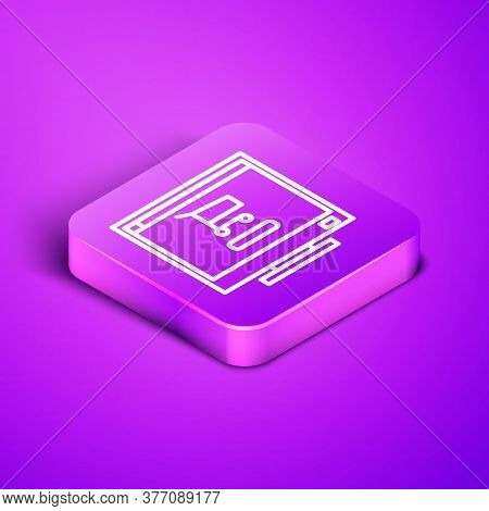 Isometric Line Shopping Cart On Screen Computer Icon Isolated On Purple Background. Concept E-commer