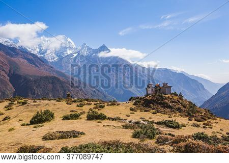 Buddhist Stupas On The Background Of Himalayan Mountains, Nepal