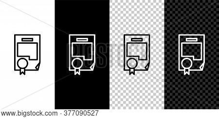 Set Line Certificate Template Icon Isolated On Black And White Background. Achievement, Award, Degre