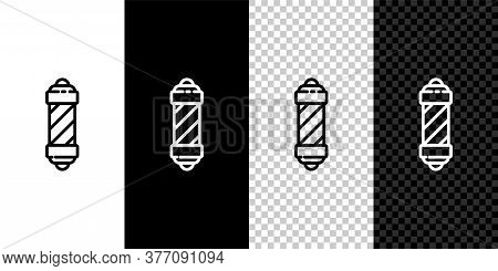 Set Line Classic Barber Shop Pole Icon Isolated On Black And White Background. Barbershop Pole Symbo