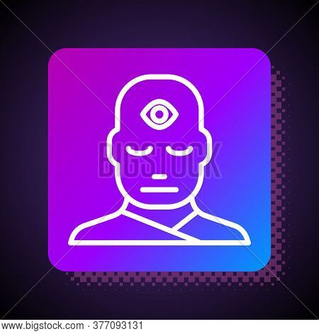 White Line Man With Third Eye Icon Isolated On Black Background. The Concept Of Meditation, Vision O