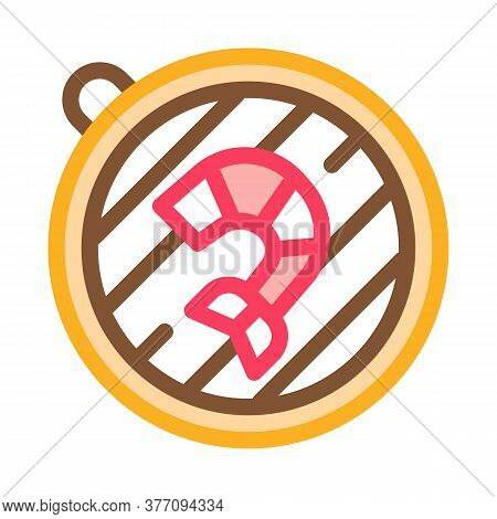 Cooking Shrimp On Bbq Icon Vector. Cooking Shrimp On Bbq Sign. Color Symbol Illustration