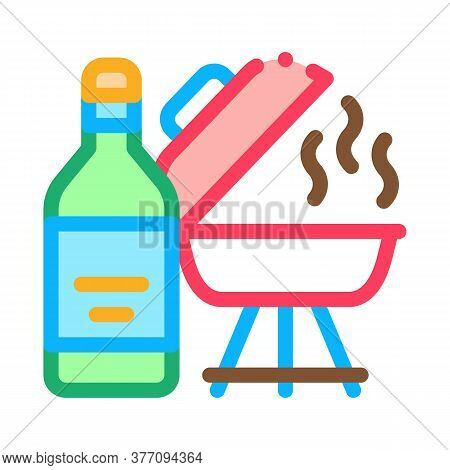 Flame Liquid For Bbq Icon Vector. Flame Liquid For Bbq Sign. Color Symbol Illustration