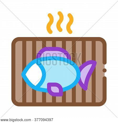 Cooking Bbq Fish Icon Vector. Cooking Bbq Fish Sign. Color Symbol Illustration