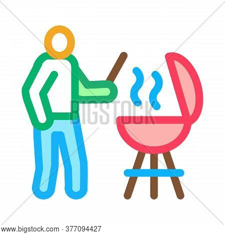 Bbq Cooking Icon Vector. Bbq Cooking Sign. Color Symbol Illustration