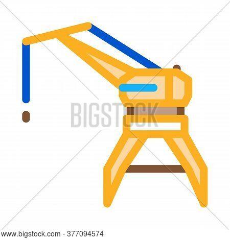 Crane Tower Icon Vector. Crane Tower Sign. Color Symbol Illustration