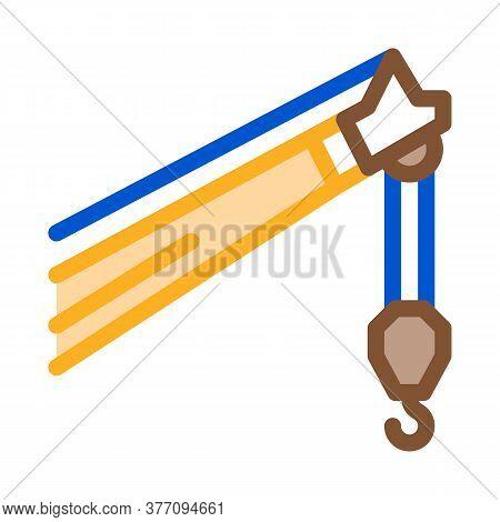 Crane Machine Hook Icon Vector. Crane Machine Hook Sign. Color Symbol Illustration
