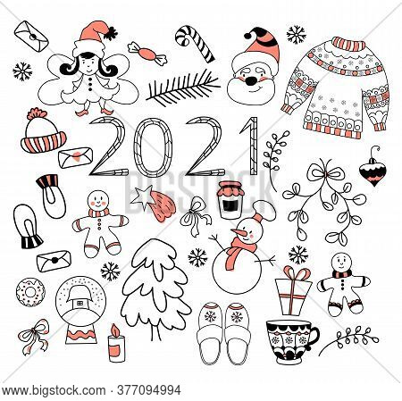 2021 New Year Set. New Year Set Of Cute Doodles. Holiday Items - Snowman And Tree, Santa And Fairy,