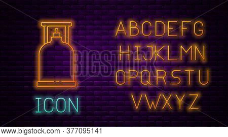 Glowing Neon Line Camping Gas Stove Icon Isolated On Brick Wall Background. Portable Gas Burner. Hik