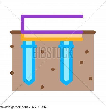 Pile Foundation Icon Vector. Pile Foundation Sign. Color Symbol Illustration