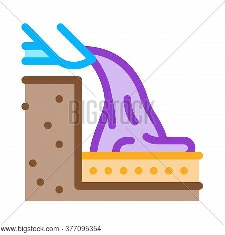 Foundation Pouring Icon Vector. Foundation Pouring Sign. Color Symbol Illustration