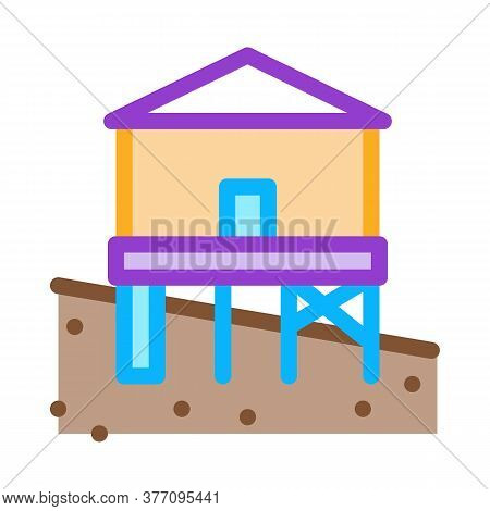 Mixed Type Of Built Foundation Icon Vector. Mixed Type Of Built Foundation Sign. Color Symbol Illust