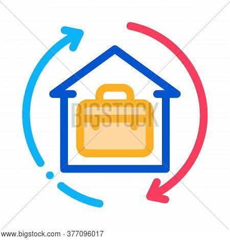 Case In Home With Circle Arrows Icon Vector. Case In Home With Circle Arrows Sign. Color Symbol Illu