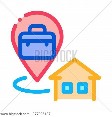 Direction From Home To Work Icon Vector. Direction From Home To Work Sign. Color Symbol Illustration