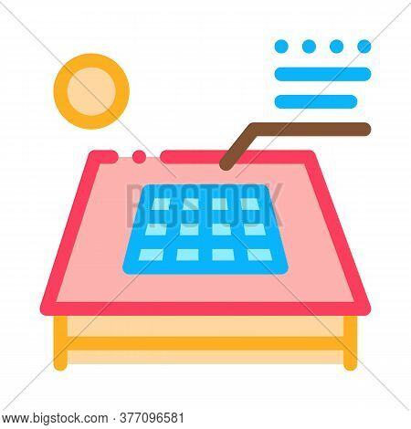 Solar Battery On Roof Icon Vector. Solar Battery On Roof Sign. Color Symbol Illustration