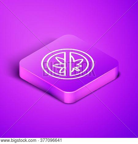 Isometric Line Stop Marijuana Or Cannabis Leaf Icon Isolated On Purple Background. No Smoking Mariju