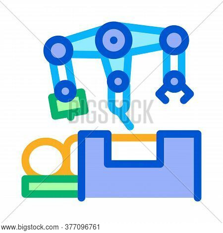 Robotic Surgeon And Patient O Table Icon Vector. Robotic Surgeon And Patient O Table Sign. Color Sym