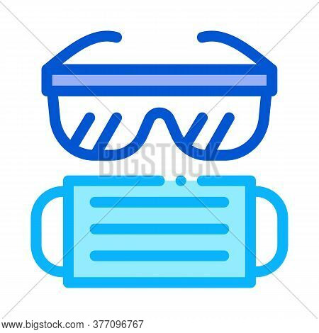 Surgeon Facial Mask And Glasses Icon Vector. Surgeon Facial Mask And Glasses Sign. Color Symbol Illu