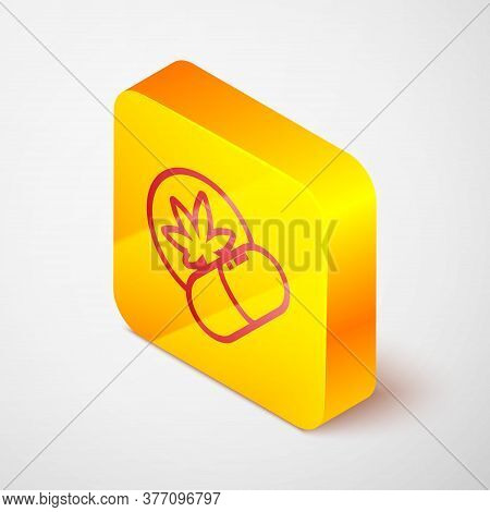 Isometric Line Herbal Ecstasy Tablets Icon Isolated On Grey Background. Yellow Square Button. Vector